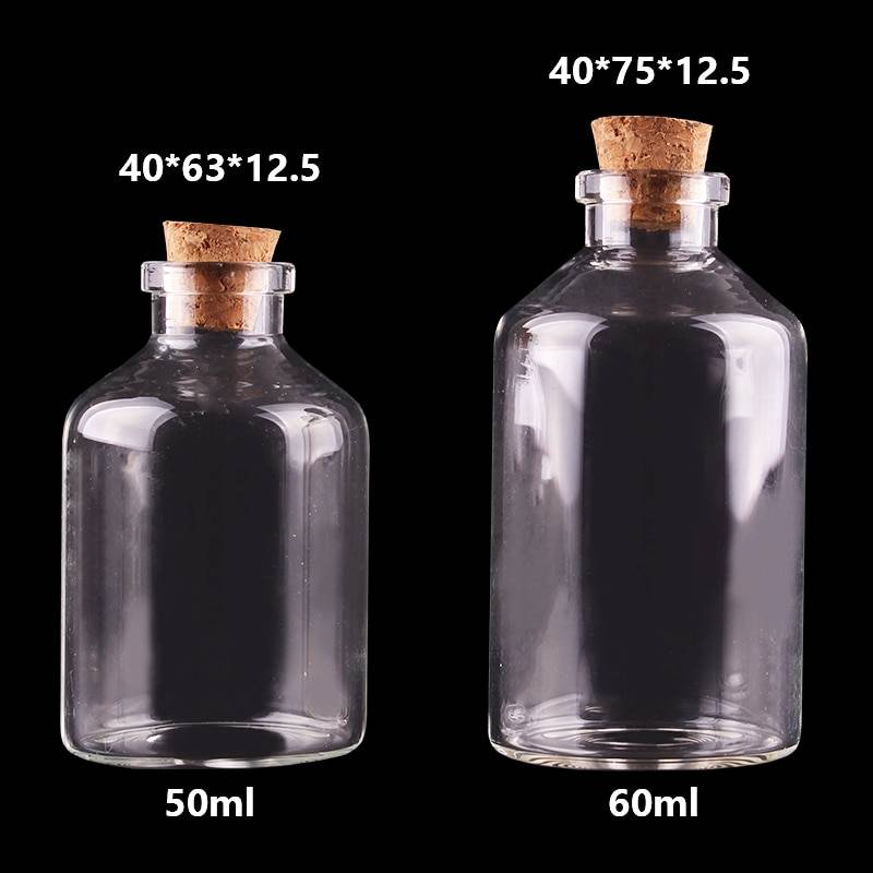 AliExpress Petites bouteilles en verre avec bouchon en liège, 20 pièces, 50ml 60ml, bocaux à épices vides,