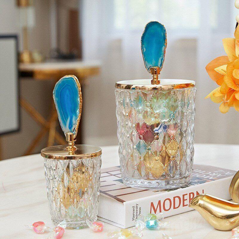 AliExpress Pot de stockage en verre de cristal nordique avec couvercle, pot de bonbons de bijoux de Table basse
