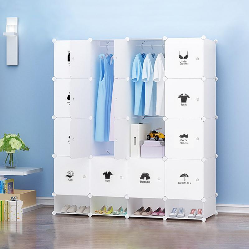 AliExpress Garde-robe en plastique à 4 niveaux avec armoire à chaussures, armoire de rangement, vêtements,