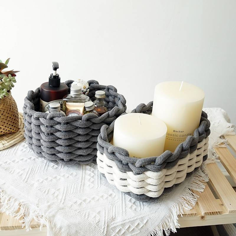 nordic simple Panier de rangement nordique en corde de coton, simple, fait à la main, décoration pour maison,