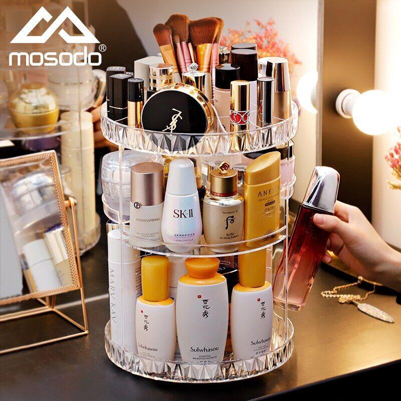 AliExpress Boîte de rangement de cosmétiques, présentoir rotatif à 360 degrés, présentoir cristal pour produits