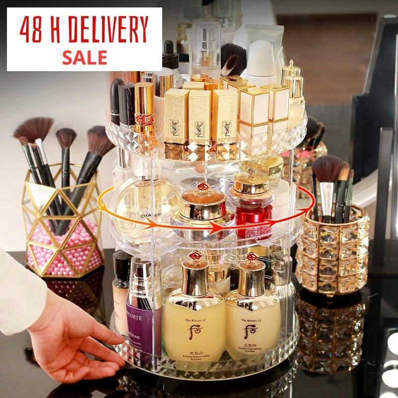AliExpress Boîte de rangement des cosmétiques, étagère rotative à 360 degrés, présentoir style cristal, pour le