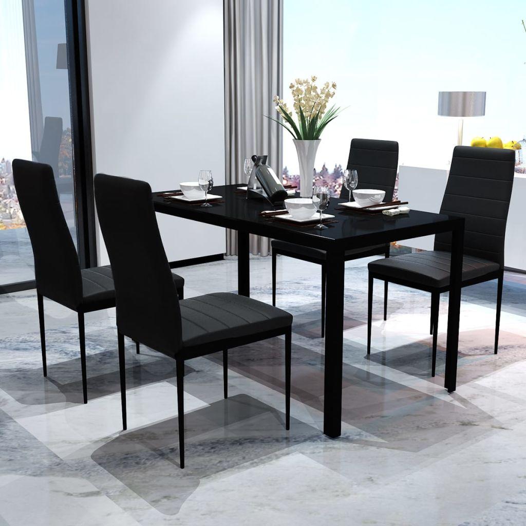 AliExpress Table à manger ensemble noir luxe verre trempé Table à manger avec 4 pièces chaises Table en verre