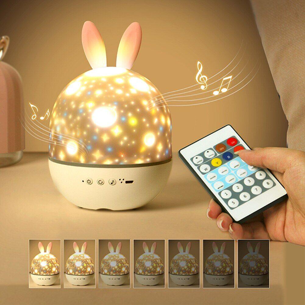 AliExpress Projecteur de musique avec oreilles de lapin rechargeable, lampe LED rotative colorée, étoile