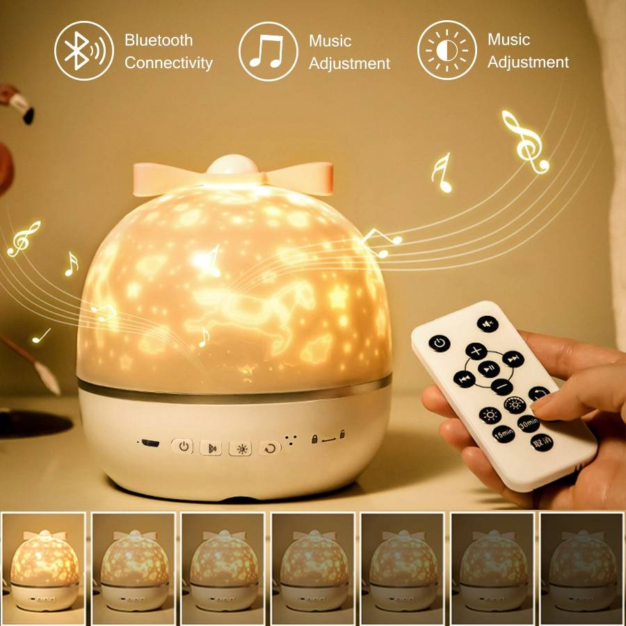 AliExpress Projecteur de musique Bluetooth avec haut-parleur, univers, ciel étoilé, rotatif, USB, lampe pour