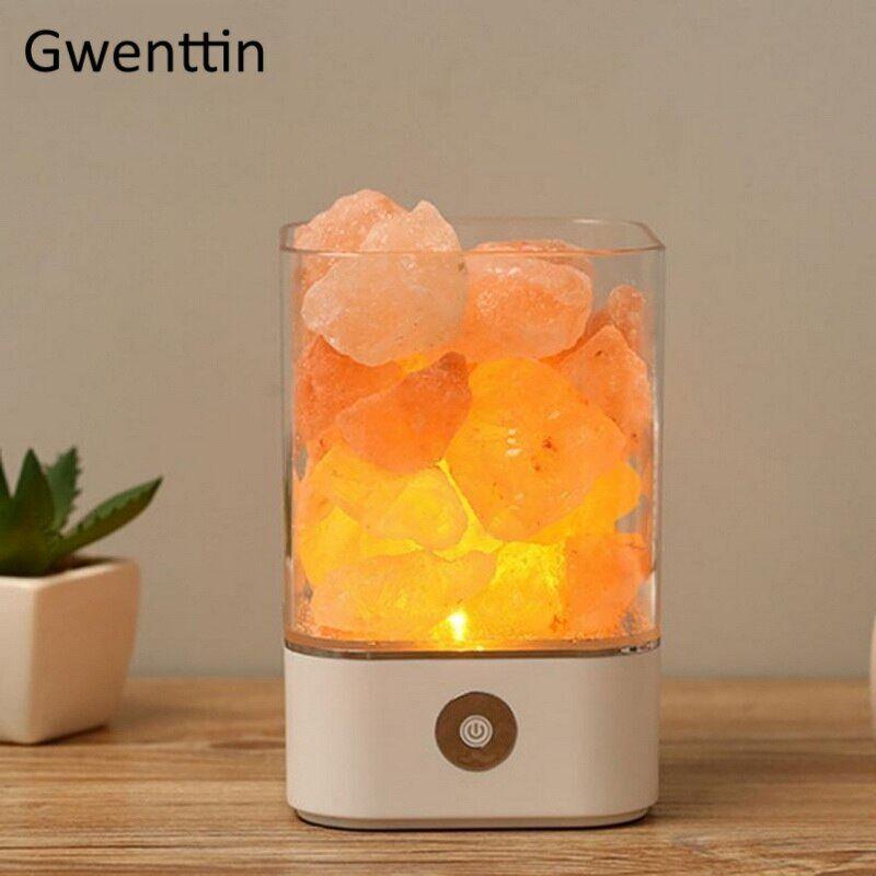 AliExpress Lampe de sel de l'himalaya en cristal naturel, USB, multicolore, lampe de nuit, lampe de lave pour