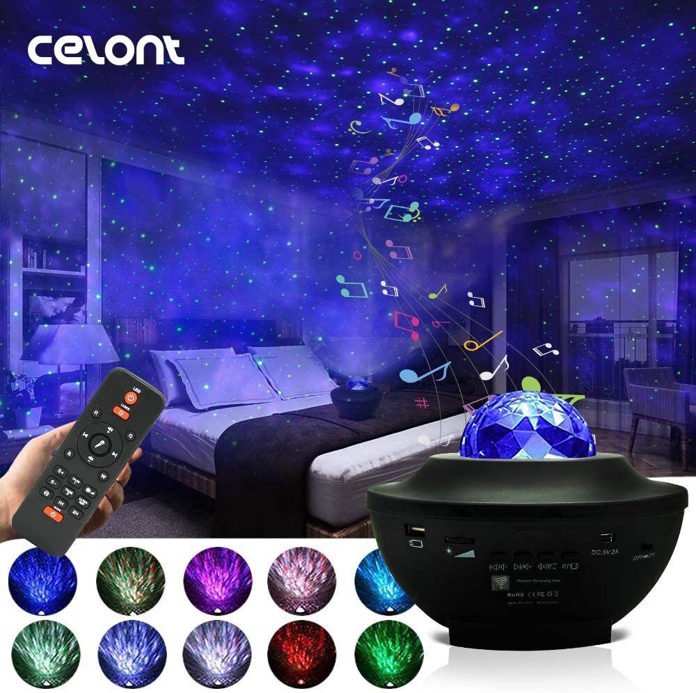 AliExpress Projecteur LED de vagues d'océan, galaxie, ciel étoilé, lampe de nuit avec musique, haut-parleur