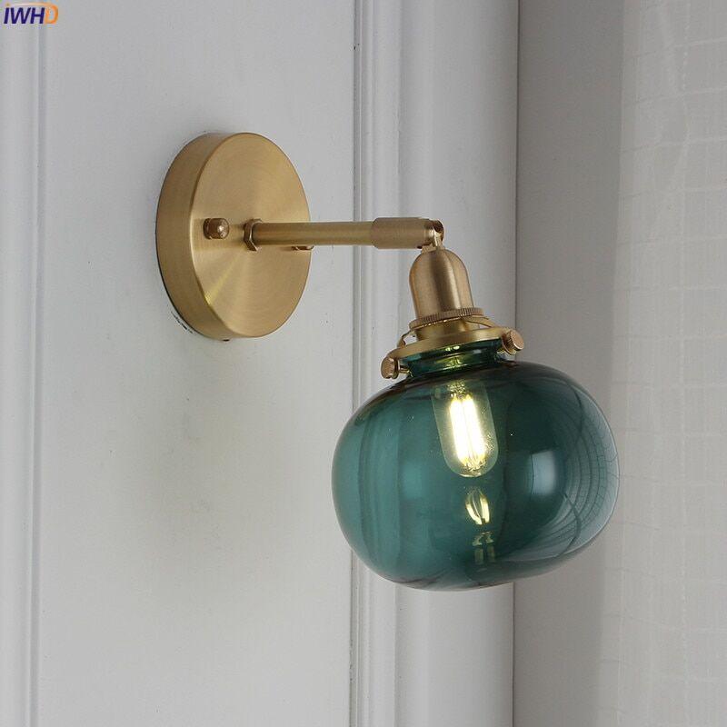 AliExpress IWHD – lampe nordique en cuivre mur LED, miroir de chambre à coucher, salle de bain, boule de verre,