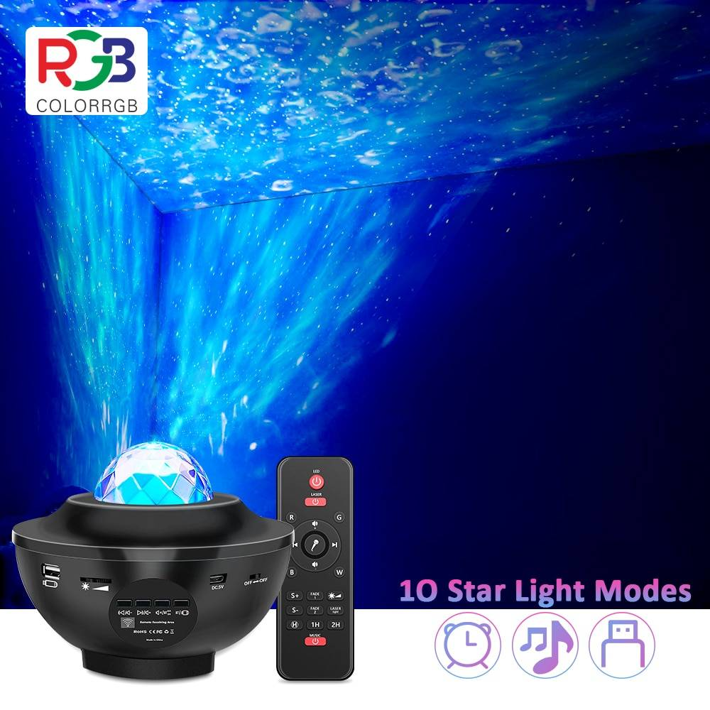 AliExpress Projecteur USB, musique étoilée, vagues d'eau, Bluetooth, son activé, veilleuse