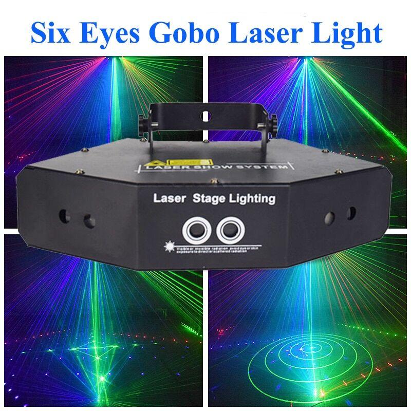 AliExpress Projecteur Laser de scène Disco DJ Six yeux, lumière RGB, son DMX activé, scanneur d'effets, système