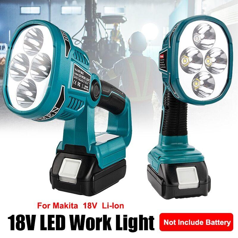 null Lanternes portables 12W 18V, lampe de travail adaptée à la batterie Makita Li-ion, éclairage