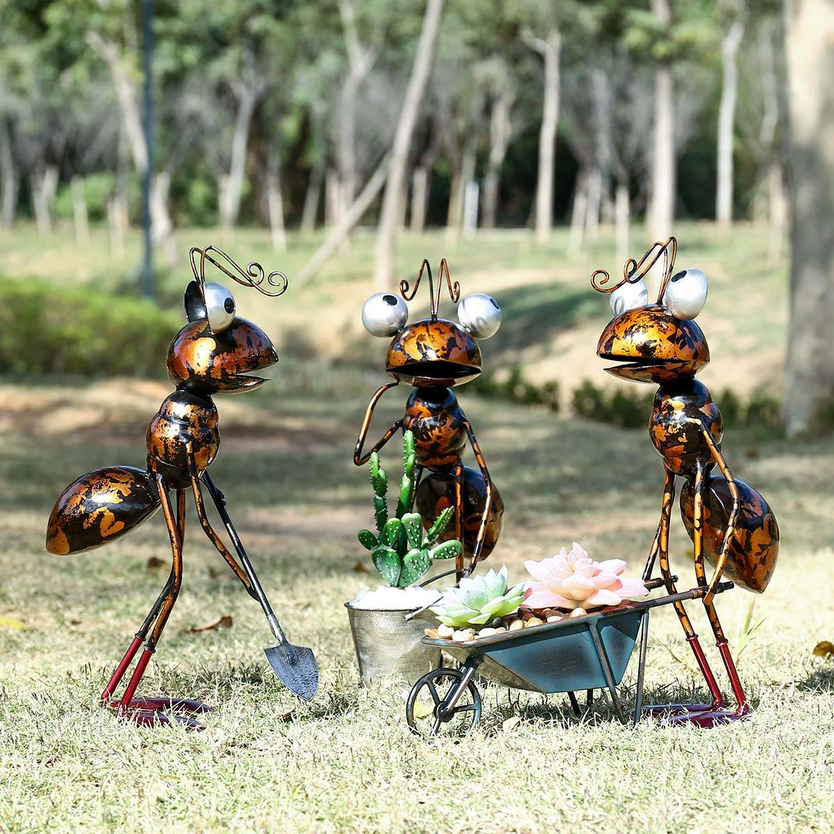 Tooarts-décor de jardin en fer   Fourmi de 13 pouces, décoration de jardin en fer, seau amovible,