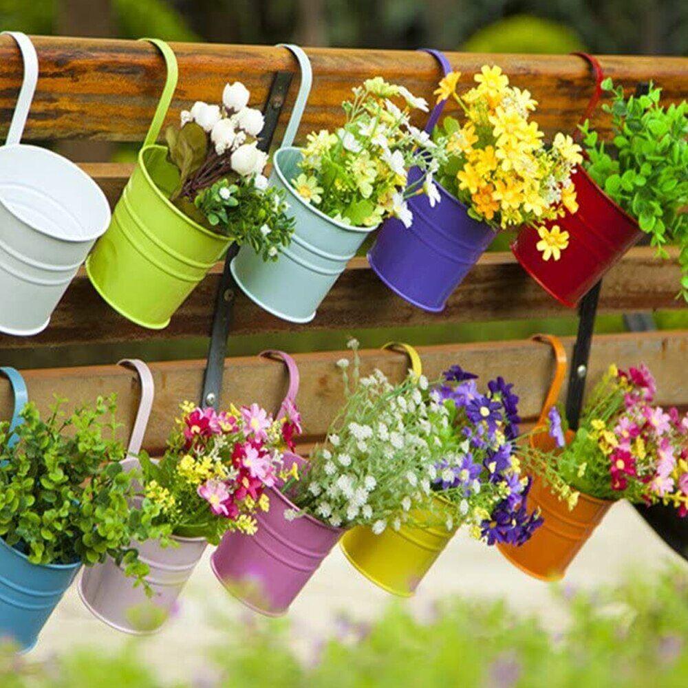AliExpress Pot de fleurs suspendu en métal, 10 pièces, crochet mural couleur bonbon, seau en fer, panier