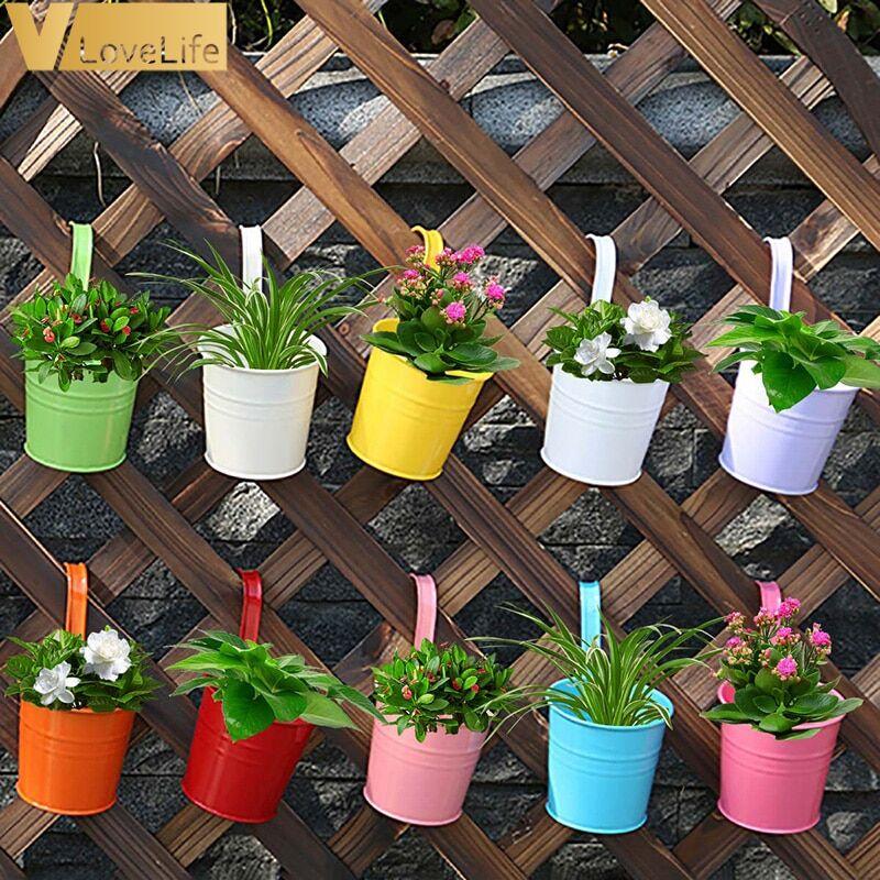AliExpress Pots de fleurs muraux suspendus en métal, 10 pièces, avec poignée en fer, porte-seau Vertical pour