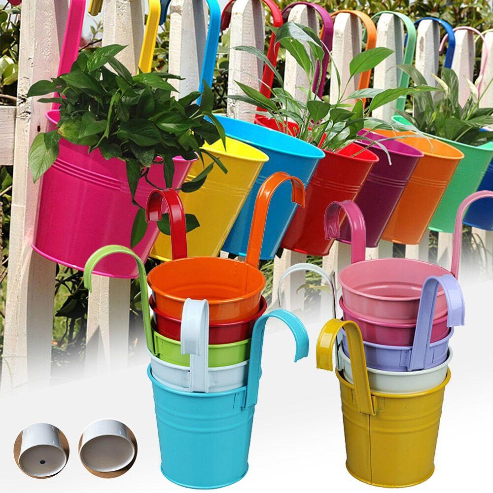 AliExpress Pots de fleurs suspendus muraux en métal, 10 pièces, jardinières de jardin en fer, support de seau