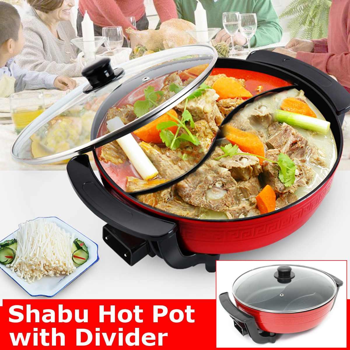 AliExpress Shabu-casserole électrique 1300W 220V   double casserole à soupe, ustensiles de cuisine 6L, pots