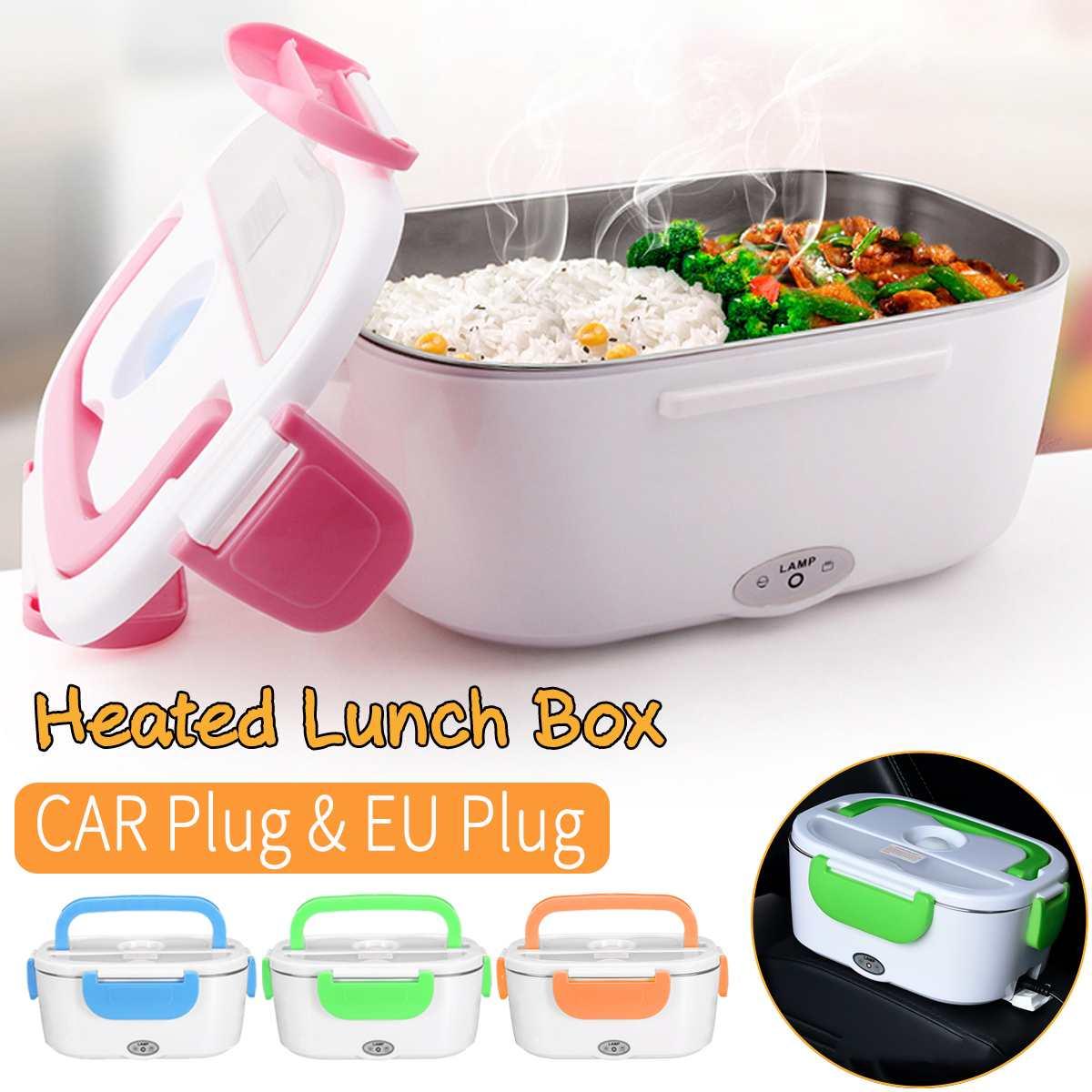 AliExpress Boîte à déjeuner chauffante électrique Portable 2 en 1, boîte à Bento en acier inoxydable 12V-24V