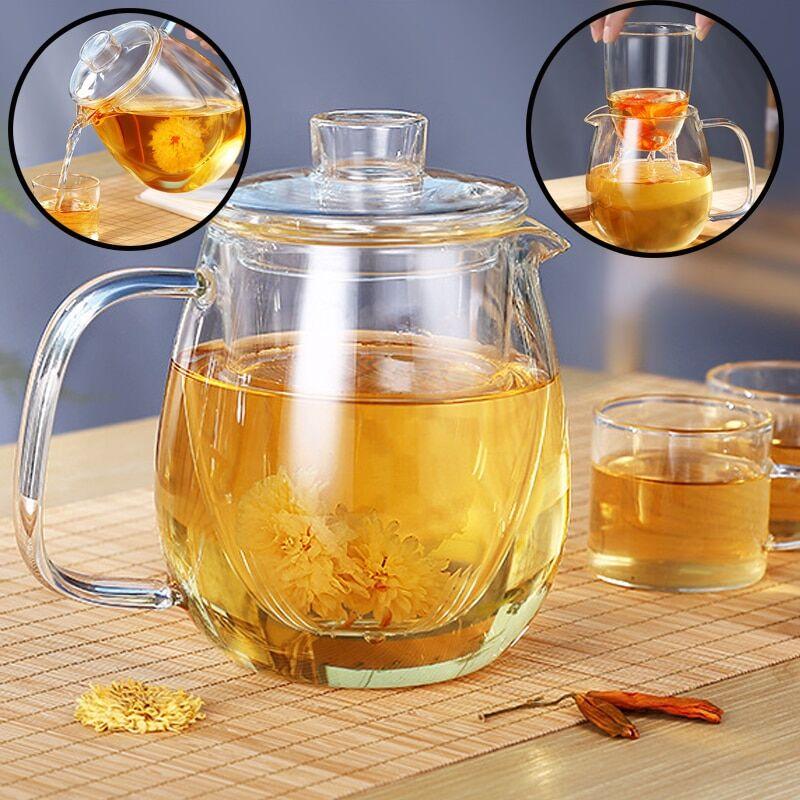AliExpress Théière en verre de 1200ml avec infuseur amovible, bouilloire à thé sûre, peut être chauffée,