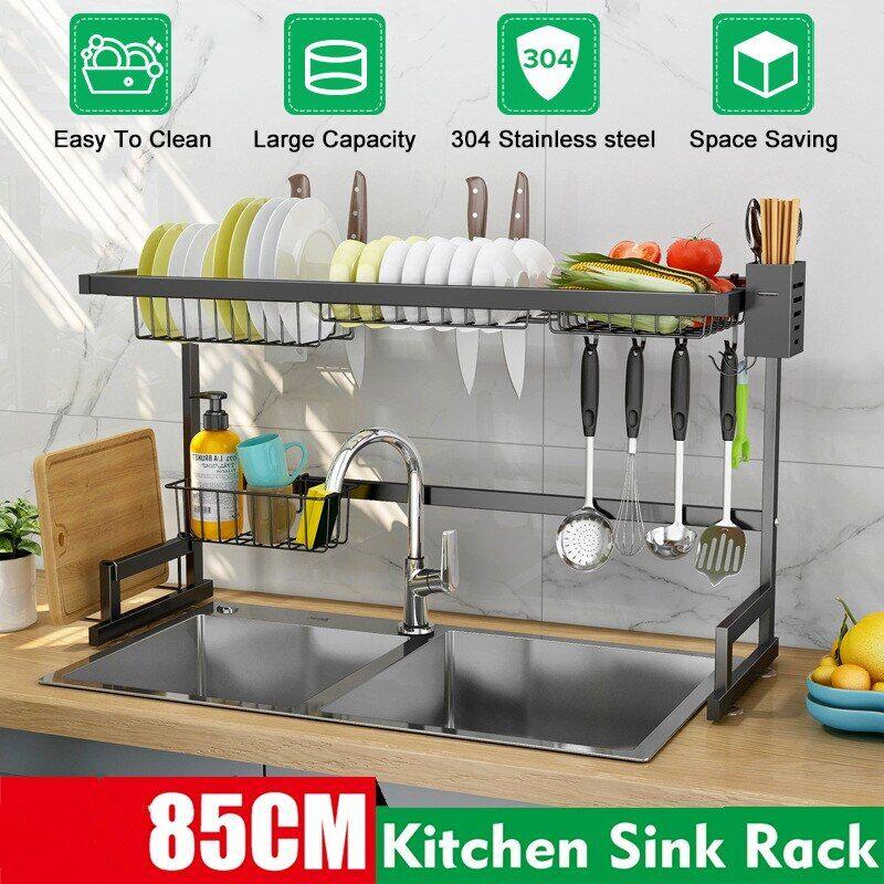 AliExpress 65/85cm en acier inoxydable étagère de cuisine organisateur de stockage plat séchage support