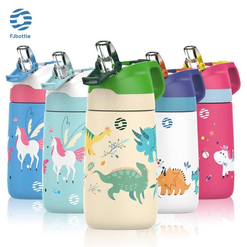 AliExpress FJbottle – bouteille d'eau pour enfants, Thermos sous vide avec motif de dinosaure mignon, bouteille