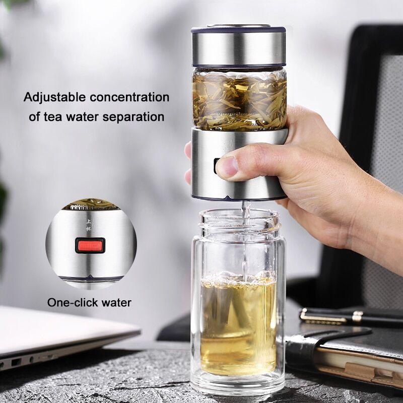 AliExpress Oneisall – bouteille en verre à Double paroi, 400ml, avec passoire à thé, infuseur à thé, Thermos à