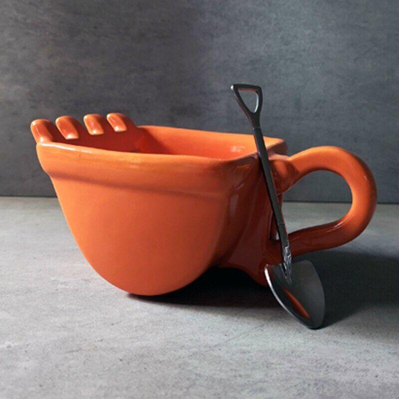 AliExpress Pelle de personnalité, seau tasse à café, cuillère à pelle, céramique amusante, tasse à thé de la