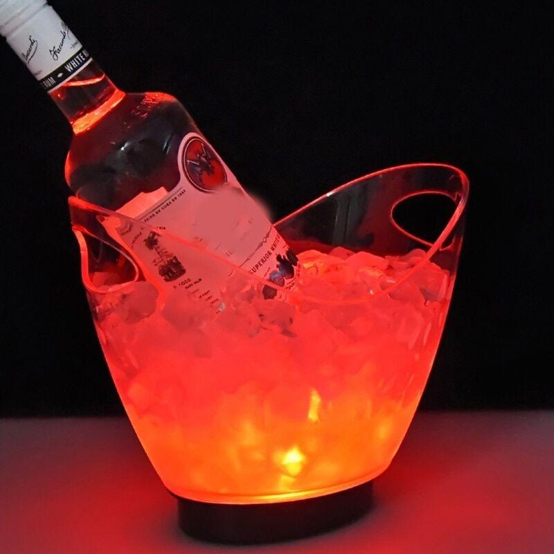AliExpress Seau à glace Transparent coloré dégradé de lumière LED, seau à glace, Bar, creux de vin, support de