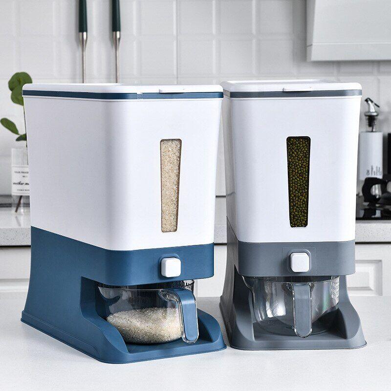 AliExpress Seau de riz à pression domestique de 12kg, réservoir de cuisine, dosage automatique, boîte de