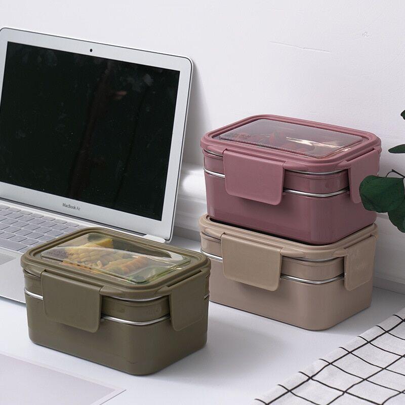 AliExpress Boîte à déjeuner Portable à deux niveaux en acier inoxydable, conteneur alimentaire de grande