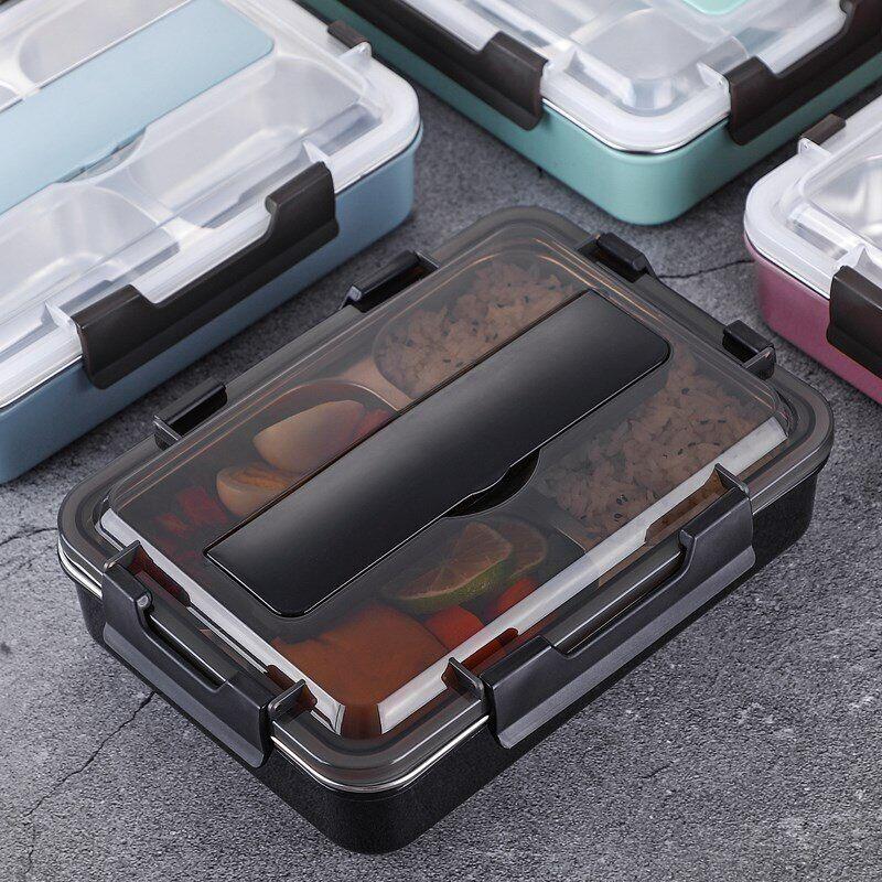 AliExpress Boîte à déjeuner en acier inoxydable 304 avec cuillère, boîtes à Bento étanches, ensemble de