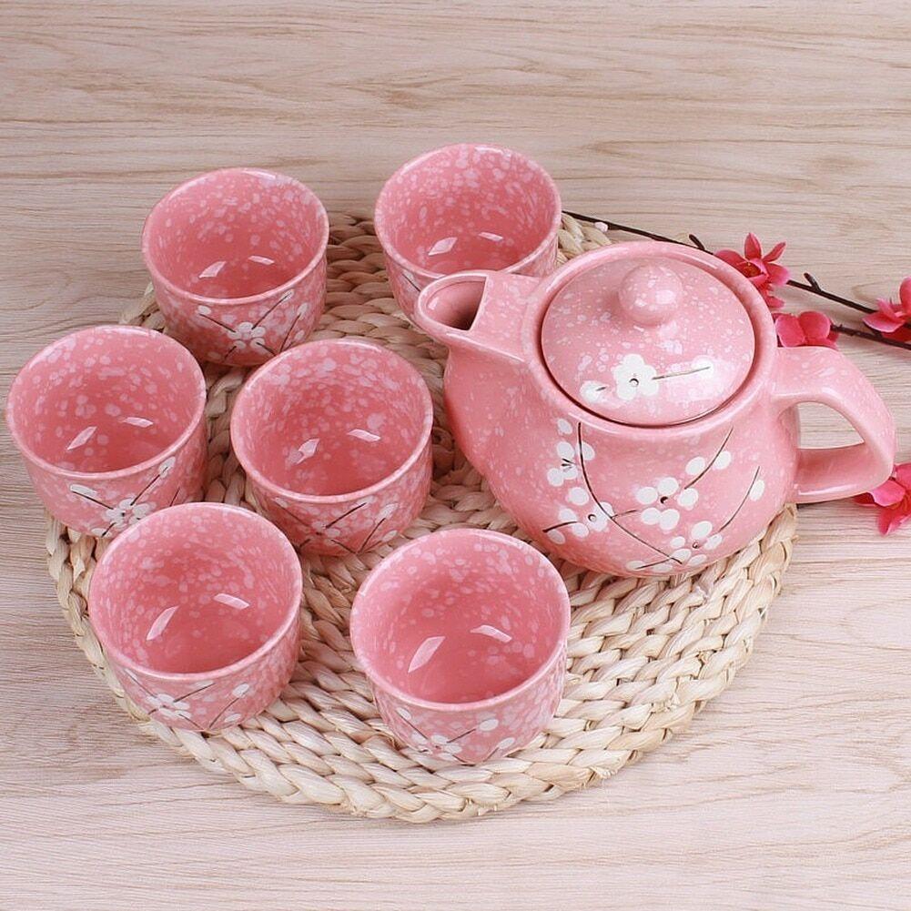 AliExpress Ensemble de théières japonaises en fleurs de cerisier, 1 Pot 6 tasses, verres en céramique, théière