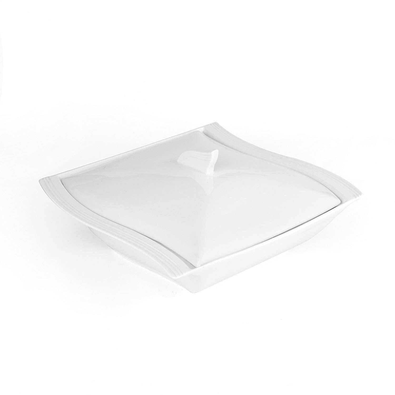 AliExpress MALACASA – Pot à soupe en porcelaine blanche de 10 pouces, de couleur unie, avec couvercle, carré