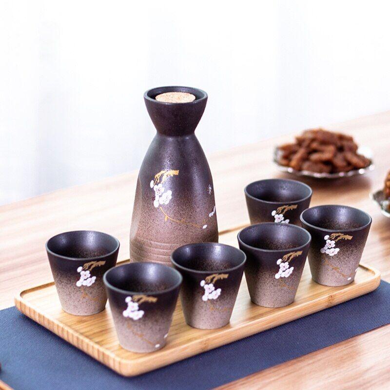 AliExpress Ensemble de verres à vin en céramique japonais, Pot à saké en fleurs de cerisier, tasse à vin,
