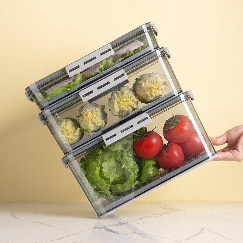 AliExpress Boîte de rangement en plastique PET pour réfrigérateur, organisateur de qualité alimentaire,