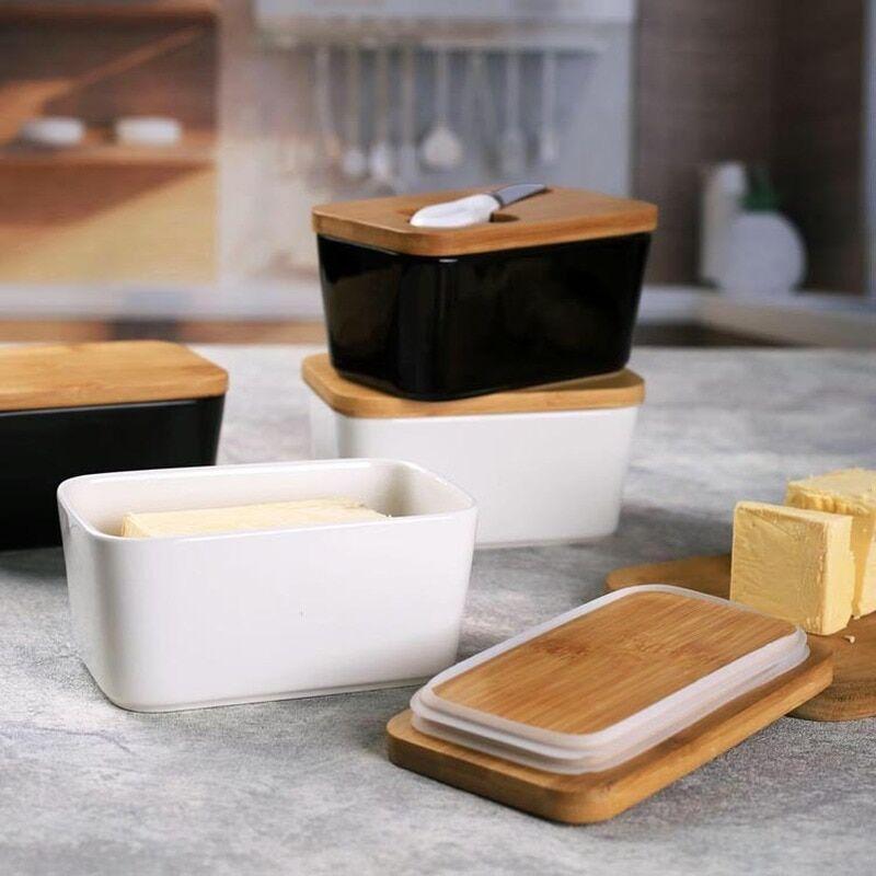 AliExpress Boîte à beurre de style nordique avec couvercle en bois, couteau, plat alimentaire, outil de