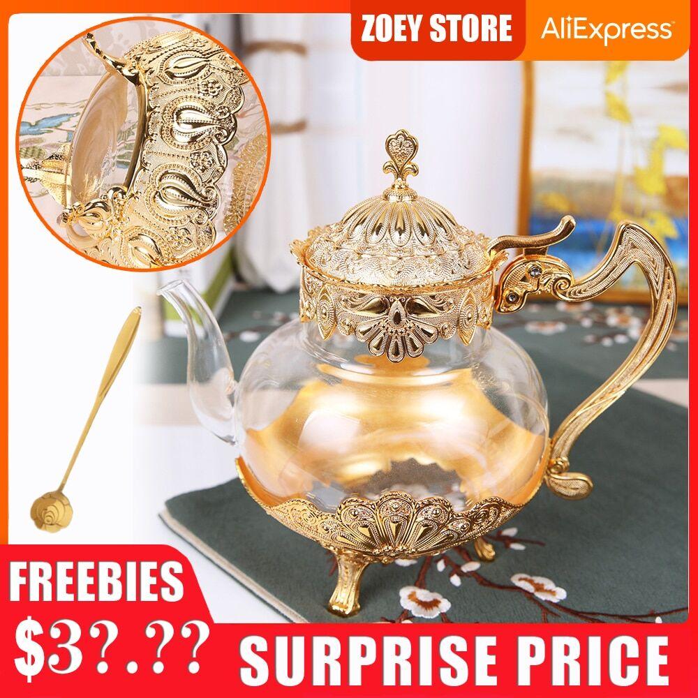 AliExpress Théière de cuisine en verre doré, bouilloire froide en métal, cafetière, Style européen, décoration