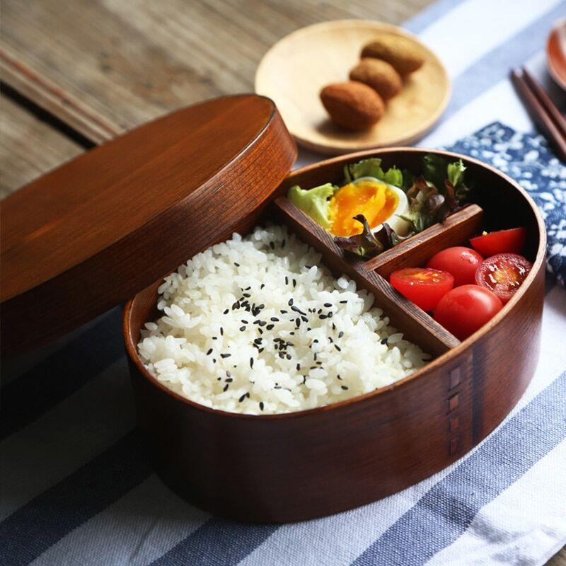 AliExpress Boîte à déjeuner japonaise en bois Bento, conteneur de nourriture, petit Fruit Sushi boîte à