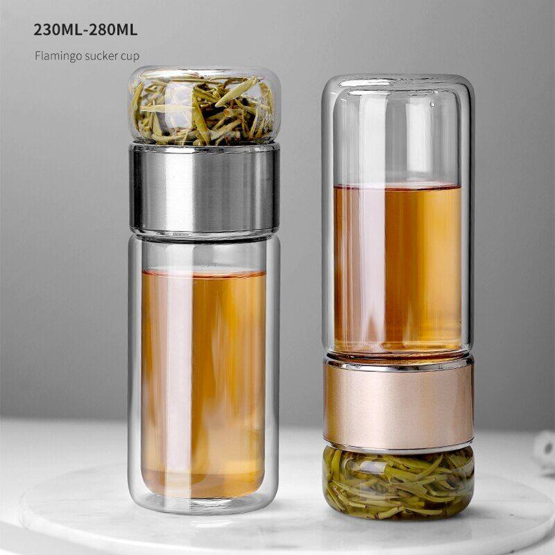 AliExpress Bouteille en verre à Double paroi avec infuseur à thé, avec filtre de séparation du thé, étanche,