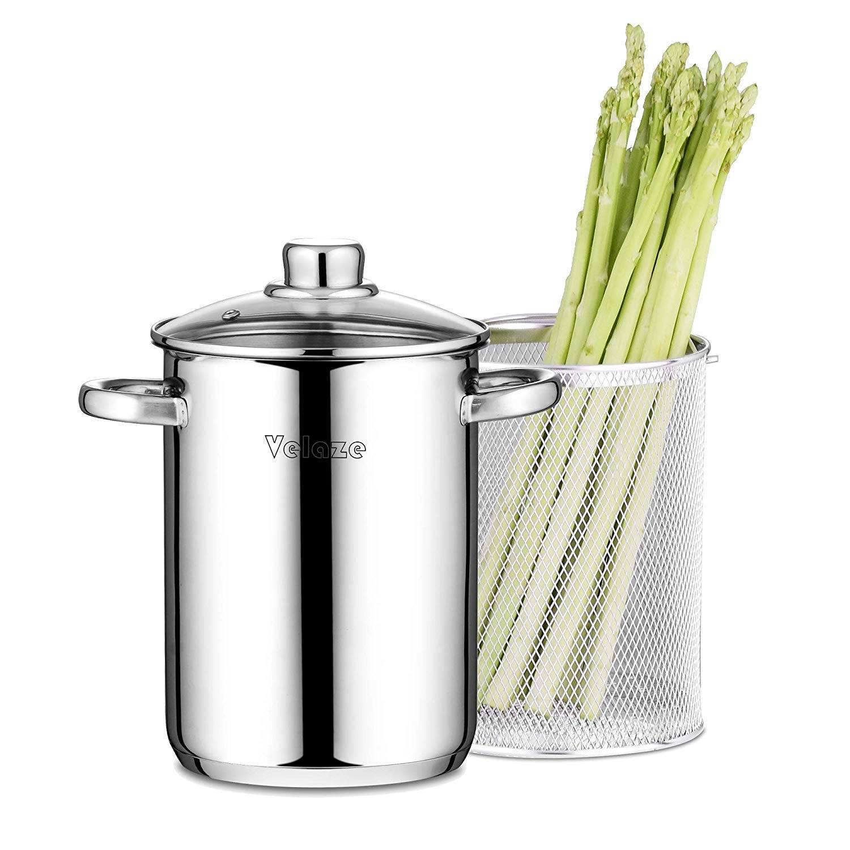 AliExpress Velaze – casserole à vapeur en acier inoxydable, 4l, avec panier et couvercle, pour pâtes et légumes