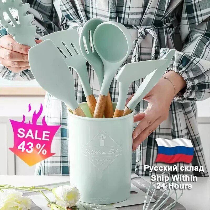 AliExpress Ensemble d'ustensiles de cuisine en Silicone, spatule antiadhésive, manche en bois, avec boîte de
