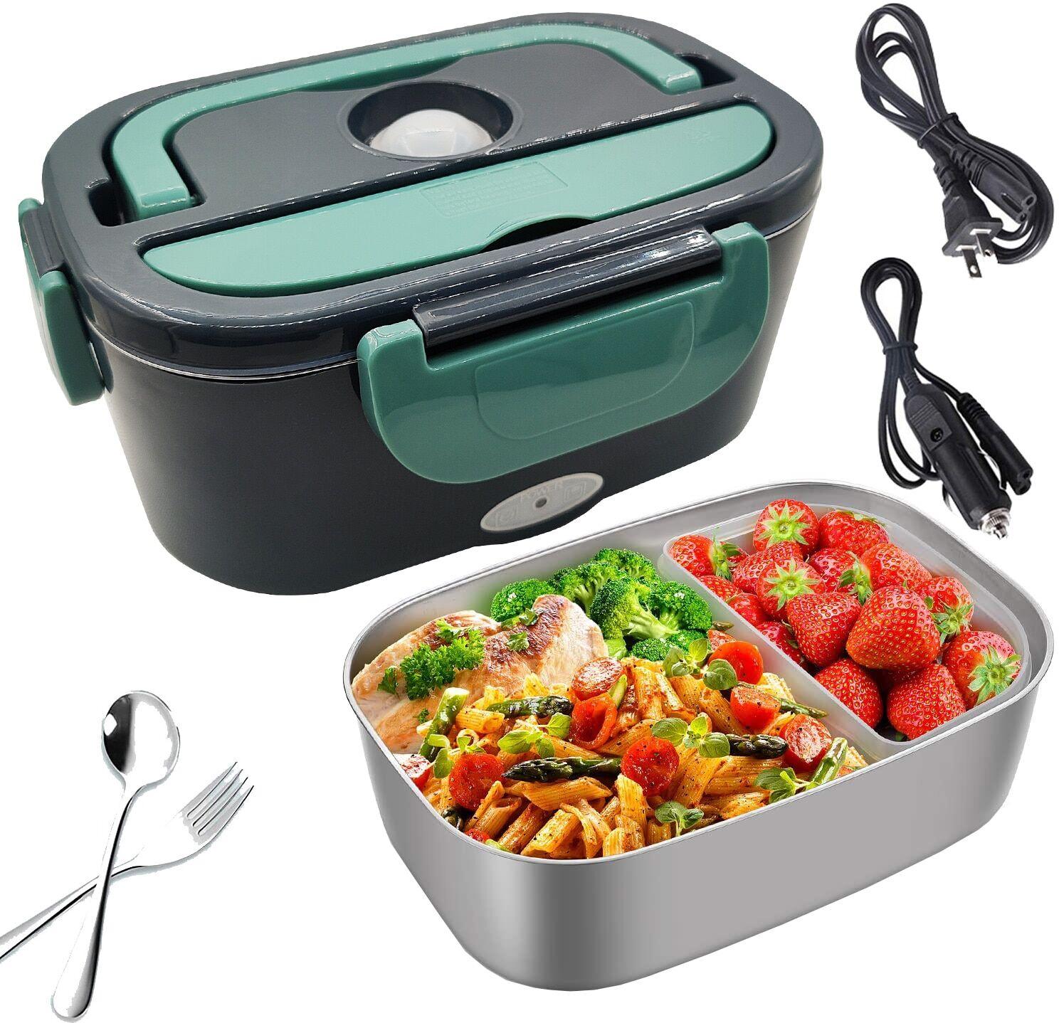 AliExpress Boîte à déjeuner chauffante électrique 2 en 1, boîte à Bento en acier inoxydable 110V 220V 12V 24V