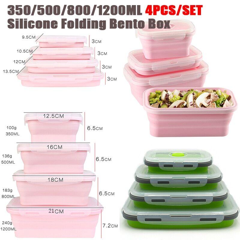 AliExpress Boîte à déjeuner rectangulaire pliable en Silicone, boîte à Bento pliante bol de récipient de