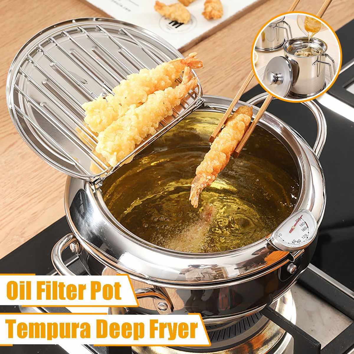AliExpress Marmite japonaise 20/24cm avec un thermomètre et un couvercle 304 poêle à frire Tempura de cuisine