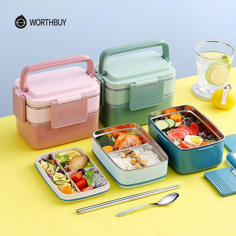AliExpress WORTHBUY Japonais 18/8 acier inoxydable boîte à déjeuner pour enfants Portable étanche Bento boîte