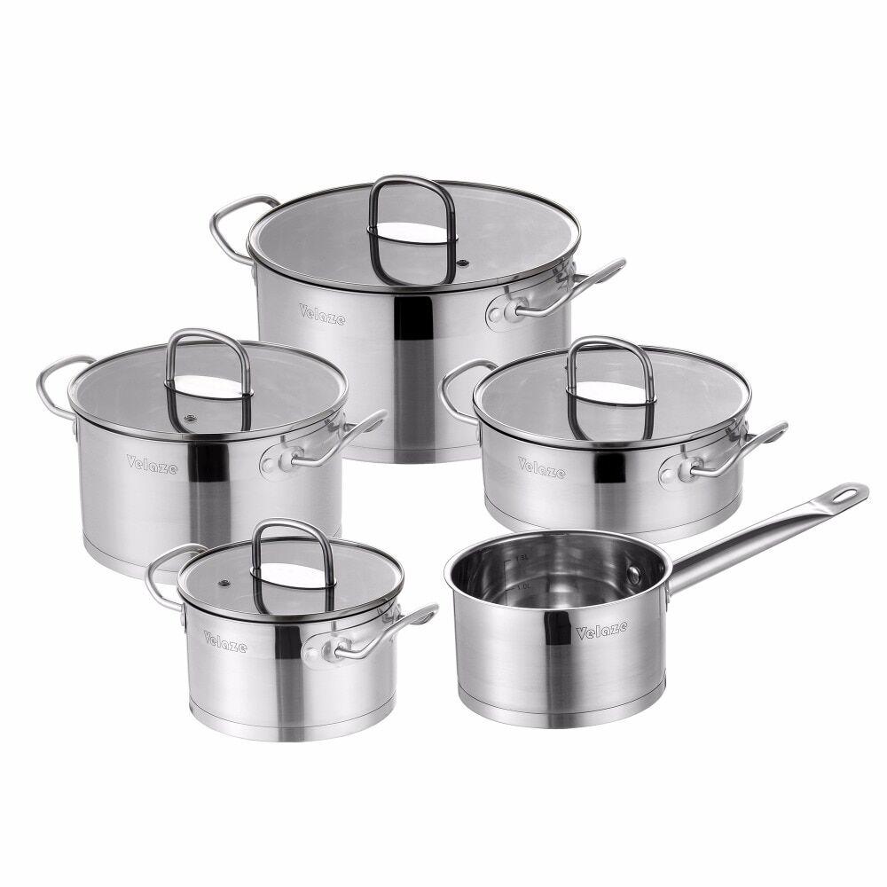 AliExpress Velaze – ensemble d'ustensiles de cuisine en acier inoxydable, 9 pièces, casseroles et poêles à