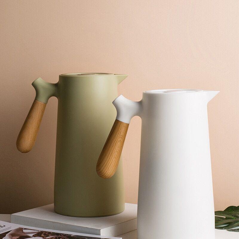 AliExpress Pots isolants avec manche en bois 1L, grande capacité, en verre, sous vide, Style coréen, garde au