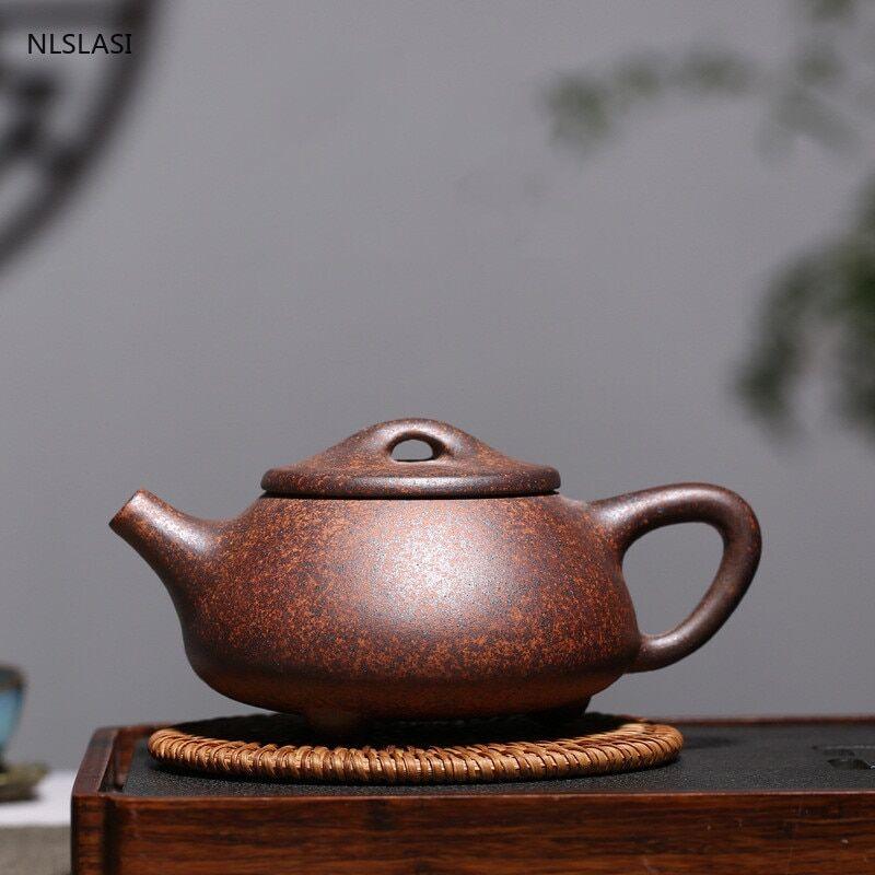AliExpress Yixing – théière rétro en argile pourpre, cuillère de pierre, chaudière à bois de chauffage, théière