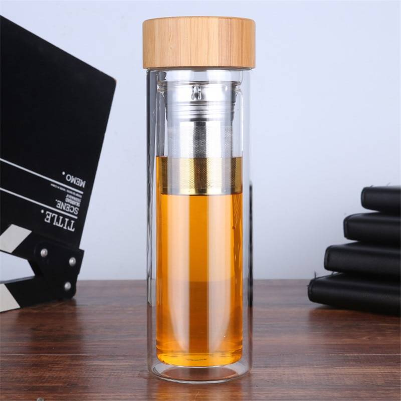 AliExpress Bouteille à thé en verre à Double paroi, verres de voyage portables, infuseur à thé, gobelet en