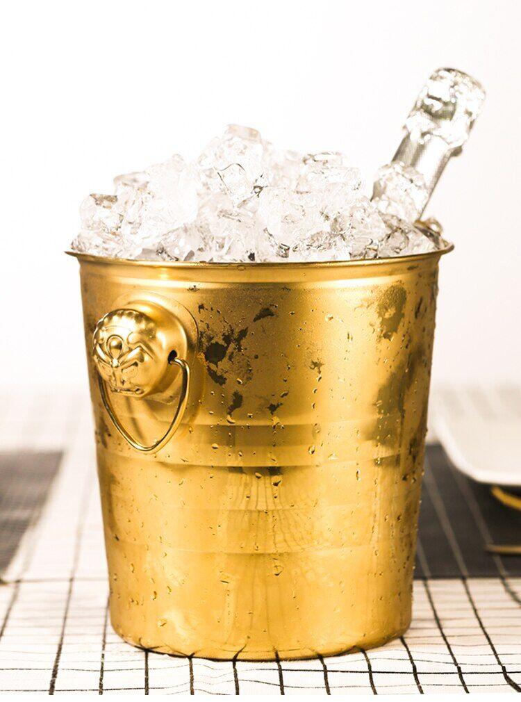 AliExpress Seau à glace en acier inoxydable avec tête de tigre épaisse, seau à Champagne, pour bière