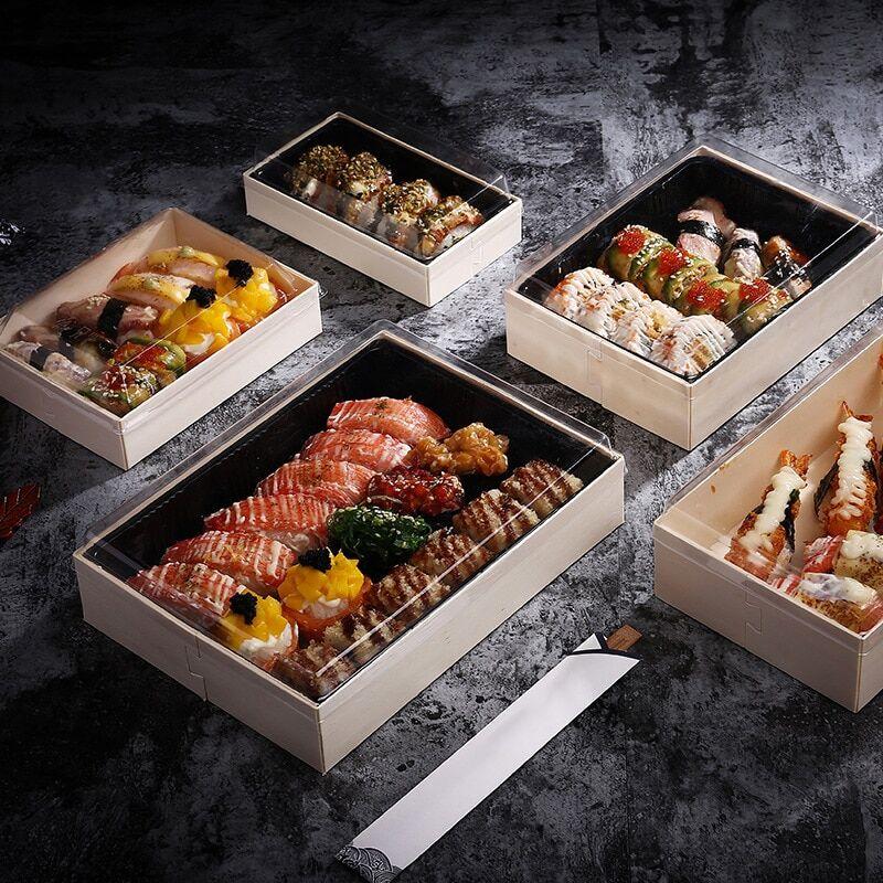 AliExpress Boîte de vaisselle en bois   Plateau alimentaire, emballage de Dessert, Transparent carré conteneur